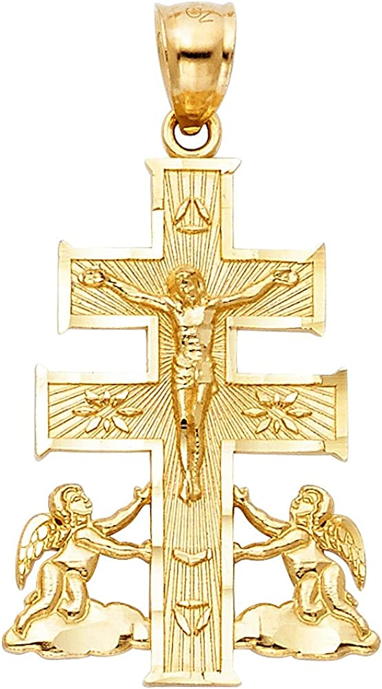 Jesus Necklace Charm 14K Yellow White Rose Gold Caravaca Crucifix Cross Pendant