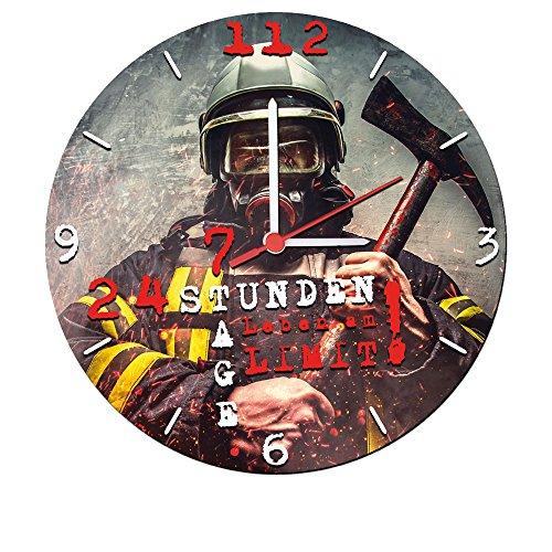 Stylische Wanduhr mit geräuscharmen Quarzuhrwerk (24 Stunden 7 Tage Leben am Limit!) 25 cm Feuerwehr
