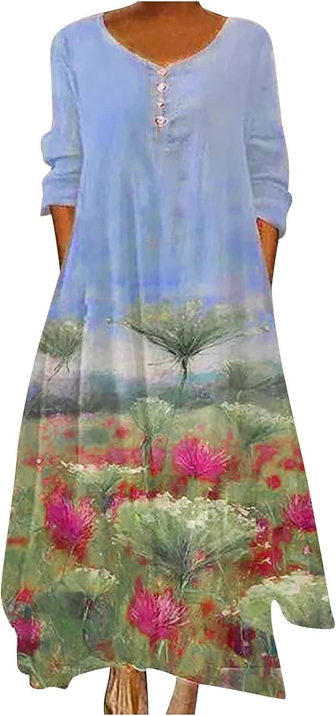YingeFun Womens Beach Dresses Casual Long Dress with Irregular Hem Solid Plain Simple A Line Midi Dress Summer & Fall