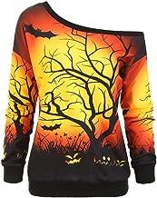 BALABA◕。Womens Halloween Pumpkin Sweatshirts, Loose Cute Long Sleeve Off Shoulder Bat/Face Skew Neck Pullover Tops