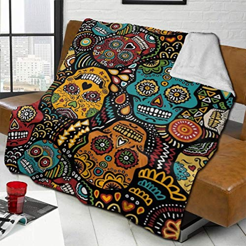 vilico Throw Blanket Fleece Baby Blankets for Boys Girls Kids,Soft Warm Cozy Blanket Fit Couch Bed Sofa,40x50 inches - Mexican Sugar Skulls