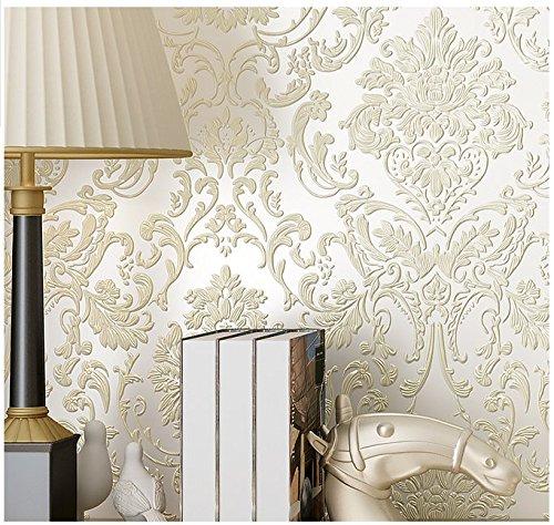 Yosot 3D Relief Europäische Vliestapete Schlafzimmer Tapete Reis Weiß