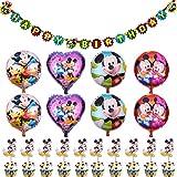 Babioms 19Pcs Mickey y Minnie Cumpleaños Decoraciones, Cumpleaños de Mickey Mouse para Niños Cumpleaños de Chicas Baby Shower, Mickey Party Globos Decoraciones