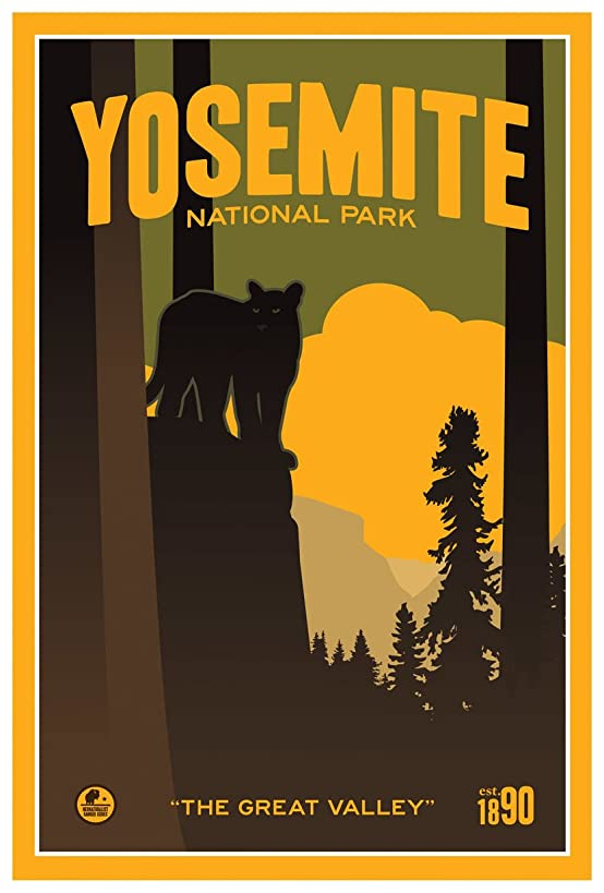 Yosemite National Park The Great Valley Travel Art Print Poster by Matt Brass (12