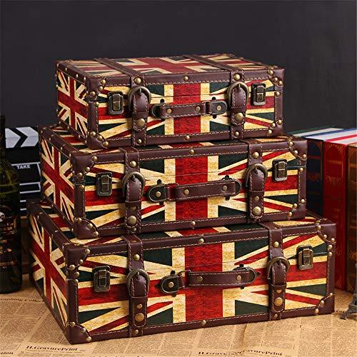 DorisAA - Maletín retro para fotografía, diseño retro, para almacenamiento de ropa, maleta, caja de madera, para ventanas, accesorios para el hogar, color B, tamaño: 3 unidades