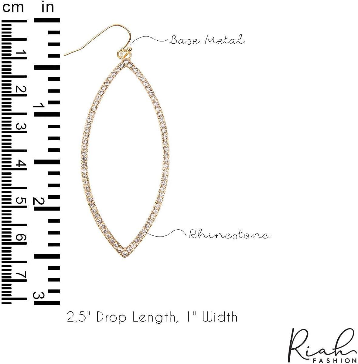 Marquise Circle Acrylic Pearl Dangles Teardrop Pear RIAH FASHION Sparkly Rhinestone Lightweight Geometric Hoop Drop Earrings Oval Multi Cubic Crystal