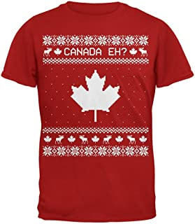 Old Glory Canadian Canada Eh Ugly Christmas Sweater Mens Soft T Shirt