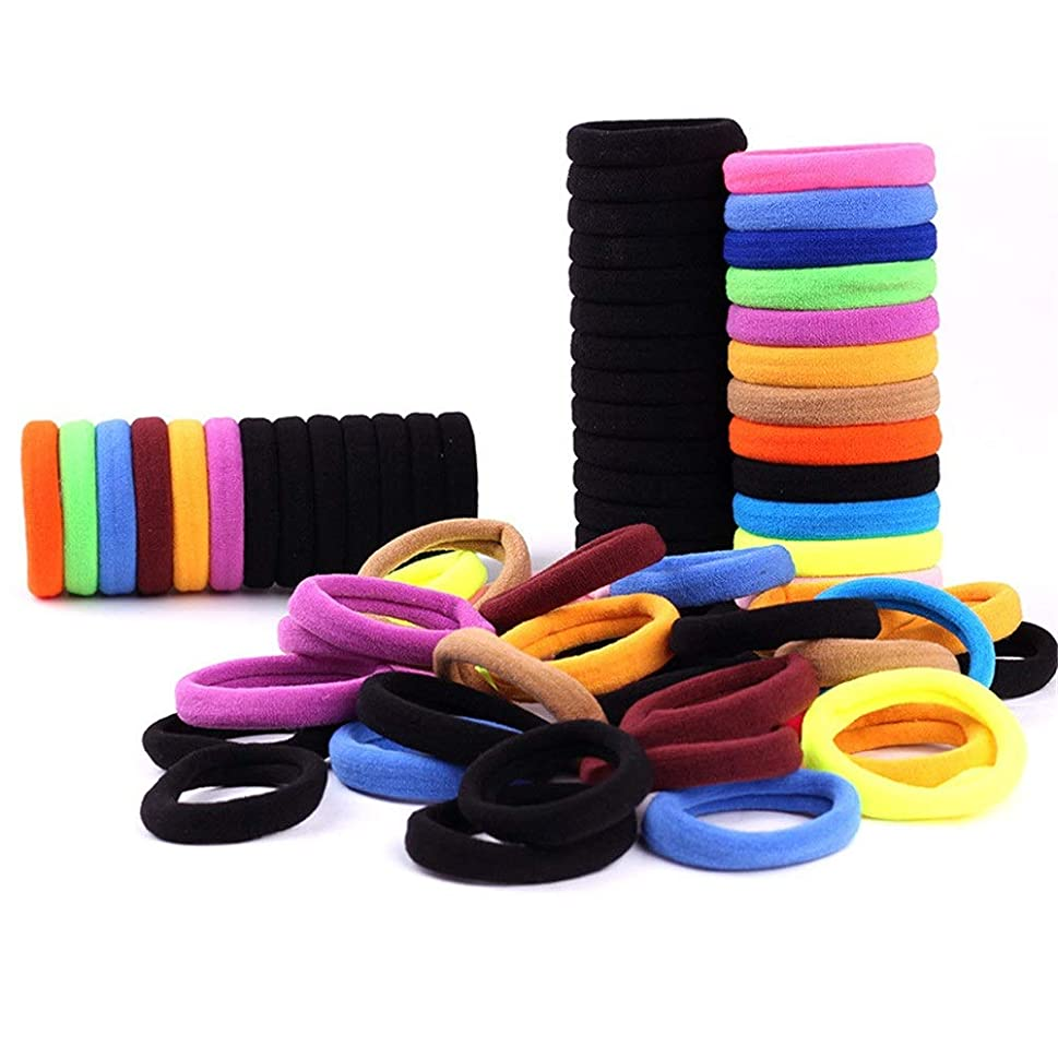 一般的な慈悲深い本部ヘアゴム 100の多色弾性ヘアバンド髪のネクタイは金属ジェントルエラスティック レディース シンプル (Color : Photo Color, Size : M)