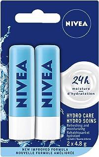 NIVEA Hydro Care Lip Balm (2 x 4.8g), Hydrating Caring Lip Moisturizer with Aloe Vera, Natural Avocado & Shea Butter, 24H ...