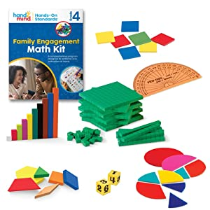 hand2mind-93534 Hands-On Standards, Learning at Home Family Engagement Kit for Grade 4, Math Activity Book with Math Manipulatives, Spanish Translations for Key Materials