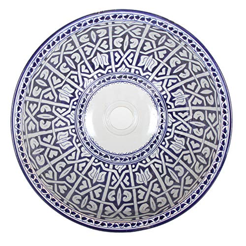 Casa Moro Mediterranes Keramik-Waschbecken Fes92 rund Ø 40 cm bunt Höhe 18 cm Handmade Waschschale aus Marokko | Handwaschbecken für Bad Waschtisch Gäste-WC | Einfach schöner Wohnen | WB40302