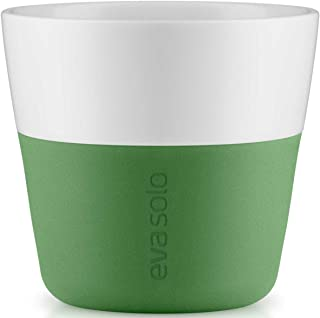 Eva Solo Botanic Green Porcelain Coffee Tumbler with Silicone Sleeve, Lungo 230ml (2pcs)