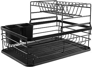 Egouttoir Vaisselle Cuisine Rangement Évier: Égouttoir Vaisselle Métal à 2 Niveaux - Support Ustensiles Comptoir Ensemble ...