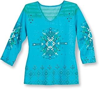 Embellished Southwest Aztec Pattern V-Neck 3/4 Sleeve Top