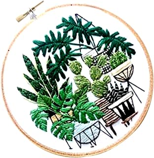 CUTICATE Pot Plant Pattern - Stamped Embroidery Kit with Embroidery Hoop 20cm for Beginners Starters DIY Sewing Crafts - EC009