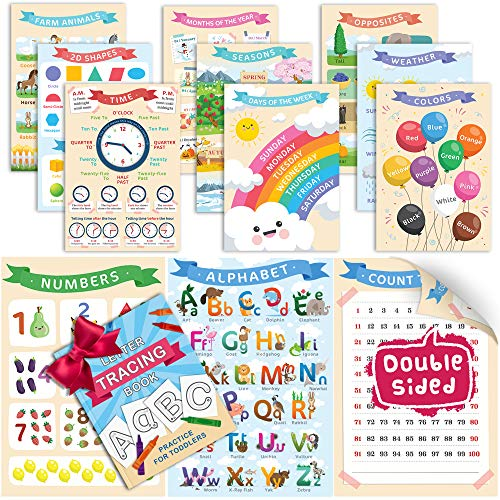 Bilingual Educational Posters w/Free Alphabet Tracing Book | Alphabet Poster | ABC Poster for Toddlers Wall | Alphabet Chart | ABC Posters for Classroom | ABC Chart for Wall Kindergarten |