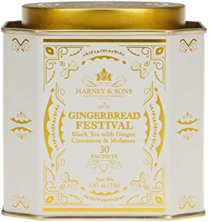 Harney & Sons Black Tea with Ginger/Cinnamon & Mol, Gingerbread Festival, 30 Count