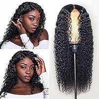 女性のための長い巻き毛のかつら黒の波状のかつら、毎日のパーティーのための24インチ中間部分合成耐熱髪