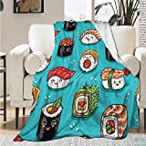 Sushi Pattern Cute Cartoon Japanese Food Blanket Throw Soft Lightweight Warm Cozy Flannel Fleece Women Adults and Kids Gifts for Couch Bed Sofa 50'x40' Small for Kid Leg pet