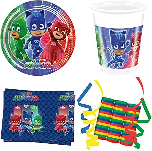 JT-Lizenzen PJ Masks Pyjamahelden 39-teiliges Kindergeburtstag Party Deko Set Basis Motto Fete Feier 8 Teller, 8 Becher, 20 Servietten, 3 Rollen Luftschlangen