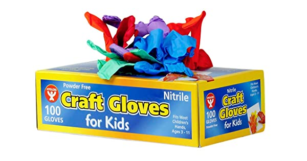 Grade: Kindergarten to 3 8.35 Height.85 Wide 100 Count 4 Length My Mom Knows Best MKB-100 Glovies Multipurpose Latex-Free Disposable Gloves for Kids