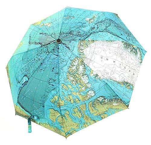 CHRISLZ Weltkarte Regenschirm Automatische Regenschirm Faltbar Sonnenschutz Regenschirm Winddichte Taschenschirm