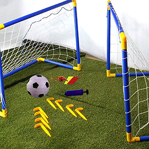 Crystals Premium Quality 2 Mini Outdoor Indoor Kids Children Soccer Football Goals Post Ball Net