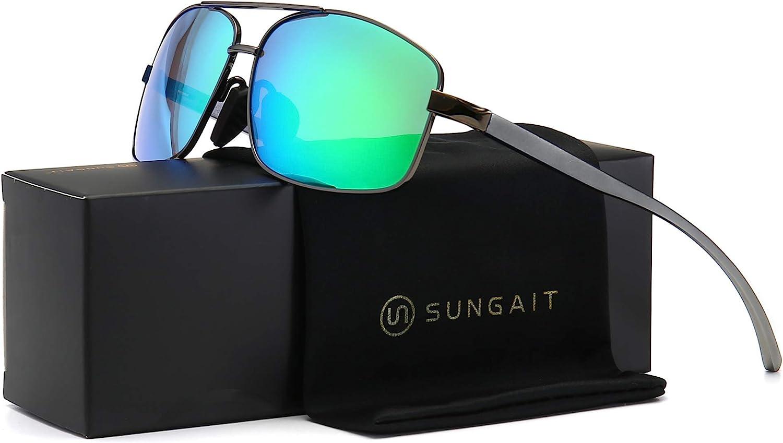 SUNGAIT Lunettes de soleil polarisées rectangulaires ultra légères UV400 Protection Gunmetal Cadre/Vert Mirror Lentille