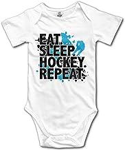 Recién Nacido Bebés Niño y niña Comer Dormir Hockey Repetir Manga Corta Bebé Mono para 0-24 Meses Blanco