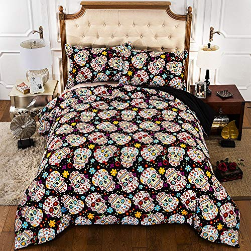 LULU Duvet Cover Set Skull Pattern 3d Printing Bed Linings 3 Pcs (Size : Single(135 * 200cm))