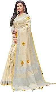 رداء ساري جميل من القطن والكتان الناعم والقطن التقليدي من شاحب أصفر مع بلوزة قطعة 6209