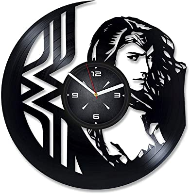 Wonder Woman Vinyl Record Wall Clock. Decor for Bedroom, Living Room, Kids Room. Gift for Him or Her. Christmas, Birthday, Holiday, Housewarming Present.