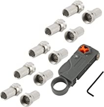 Mumaxun 10pcs F-Type Male RF Connector Twist-On Coax Coaxial Cable Adapter with Coaxial Cable Stripper Cutter Tool RG58 RG6 RG59 Quad