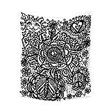 Tapicería geométrica en Blanco y Negro Manta para Sentarse Tapices para Colgar en la Pared Manta para la Pared Arte de la Pared Decoración de la Pared Playa Puesta de Sol
