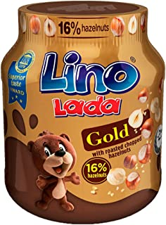 Lino Lada Gold Cocoa Spread with Roasted Chopped Hazelnuts, 349 g (A024660)