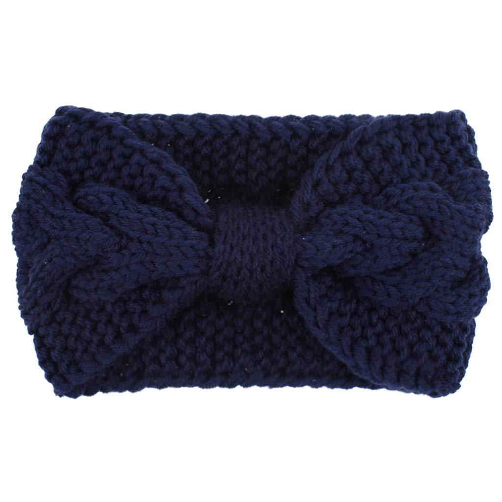 Womens Winter Ear Warmer Fashion Sport Hairband Stretch Fuzzy Cable Knit Hair Accessories Casual Knotted Headbands for Women Head Wrap Headband