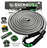 Rhino USA Kinetic Recovery Tow Rope (7/8in x 20ft) Heavy Duty Offroad Snatch Strap for UTV, ATV, Truck, Car, Tractor - Ultimate Elastic Straps Towing Gear - Guaranteed For Life!
