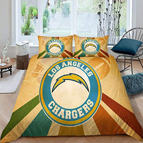 Los-ANG-eles-Ch-argers Microfiber Duvet Set California King Size, American Football League Team Logo All Season Quilt Set Soft Comfy Breathable Fade