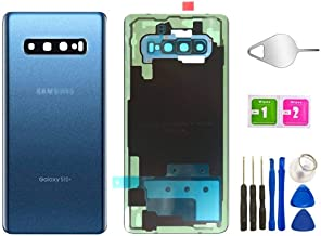 Galaxy S10+ Plus Real Panel Back Glass Replacement Cover Waterproof Assembly Replacement with Camera Frame Parts for Samsu...
