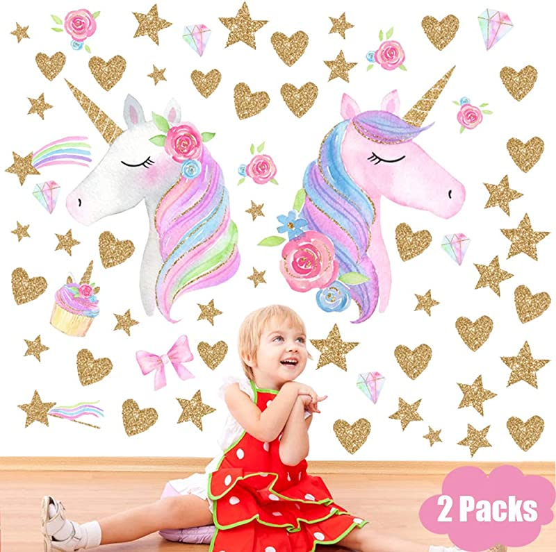Unicorn Wall Decal 2 Packs Unicorn Wall Stickers Decor Removable Vinyl Decals Gifts For Kids Room Girls Baby Nursery Children Bedroom Birthday Party Supplies Decoration