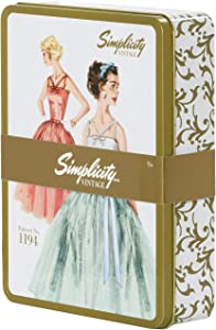Simplicity Vintage 559334007H White and Gold Retro Fashion Container, 9.75 x 7.5 x 9.75 Inches Large Storage Tin-Patterned, us:one Size, Multicolor