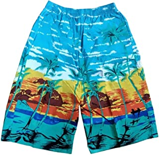 Ptyhk RG Men's Elastic Waist Palm-Tree-Print Beach Swim-Trunks Board Shorts