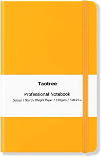 Dotted Bullet Grid Journal - Dot Grid Hard Cover Notebook, Size: 5''×8.3'', A5, Yellow Hard Cover PU Leather, 128 Pages, 120gsm Premium Thick Paper with Fine Inner Pocket for School Office Supplies