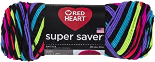 RED HEART Super Saver Yarn, Neon Stripes