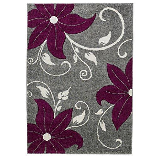 eRugs Think Rugs Designer Style Motif Floral résistant aux Taches de qualité supérieure sculpté à la Main Tapis/Moquette Tapis, Gris/Violet – 160 x 220 cm