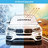meidong MOVSOU Car Windshield Snow Cover Extra Large 4 Layers Blocks UV Rays Wiper Visor Protector for All Weather Winter Summer Auto Sun Shade for Most Cars Trucks Vans and SUVs