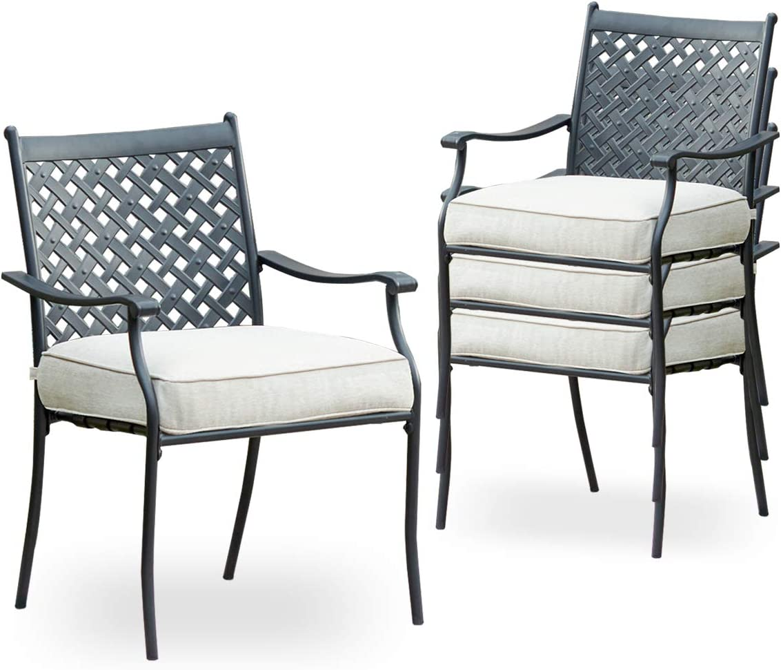 Top Space 10 Piece Metal Outdoor Wrought Iron Patio Furniture,Dinning Chairs  Set with Arms and Seat Cushions 10 PC, White