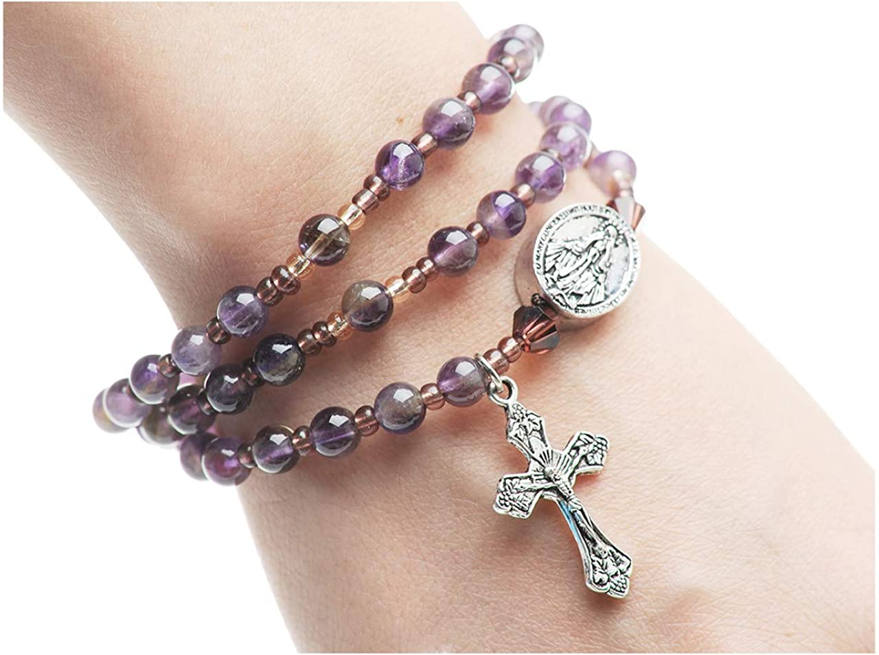 6mm Genuine Outlet sale feature Amethyst Beads Full Twistable Rosary Sales for sale Stretchable and
