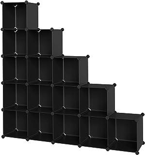 SONGMICS Armario Modular Zapatero estantería Organizador plástico Negro LPC44BK