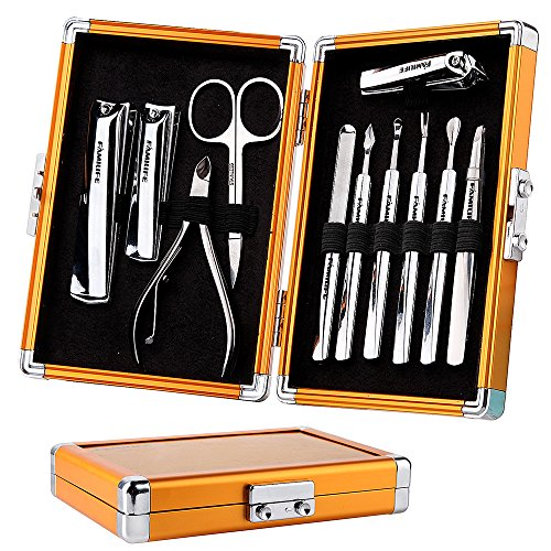 FAMILIFE L05 Manicure Set, 11 In 1 Stainless Steel Manicure Pedicure Set with Luxury Box Gold Case for Men Father